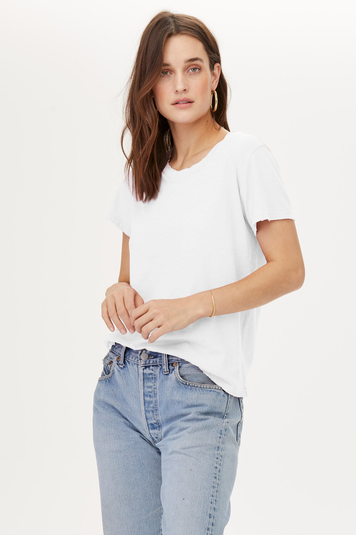 LNA Distressed Crew Tee Shirt in White