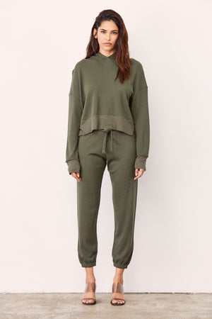 LNA Waffle Raven Hoodie  in Army Green