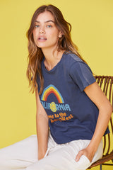 LNA California Welcome to the golden state graphic tee in navy with rainbow
