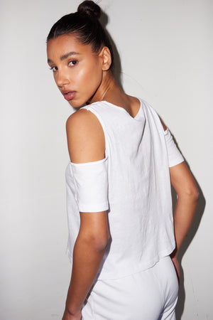 LNA La Quinta Shoulder Cutout Tee in White