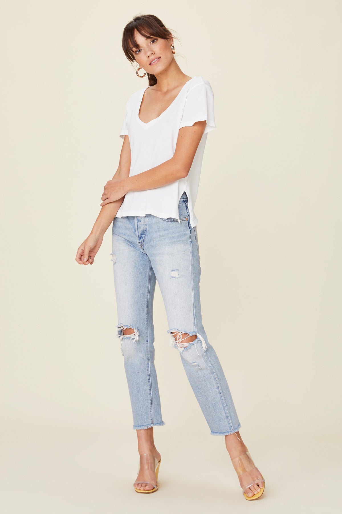 LNA Essential Cotton Reese V Neck Tee
