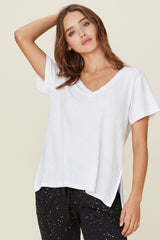 LNA White V Neck Tee with Zipper Sides