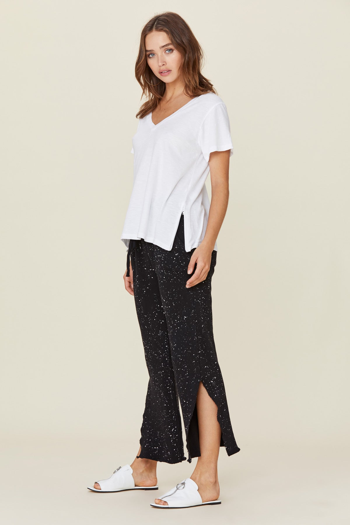 LNA White Riva V Neck Tee