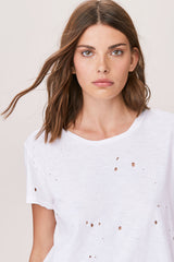 LNA Wyatt Distressed Crew Neck Tee in White