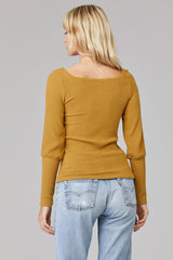 LNA Willa Ribbed Top in Cumin