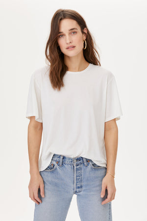 LNA White Worn in Tee Shirt