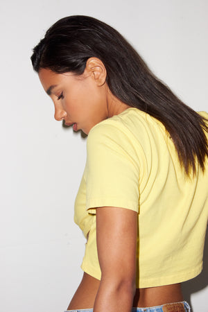 LNA Elisa Cropped Cutout Tee in Bright Yellow