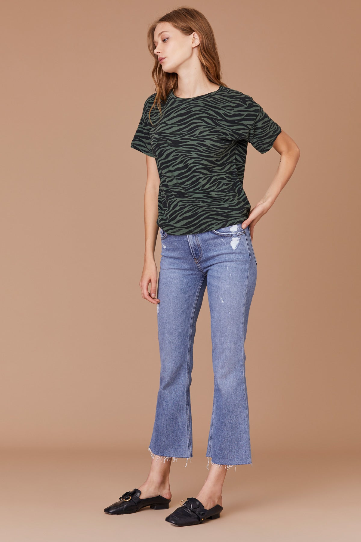 LNA Zebra Print Boxy Crew Tee in Forest Green and Black