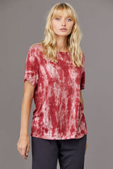 LNA Zephyr Tie Dye Tee in Red Pink and White Tie Dye
