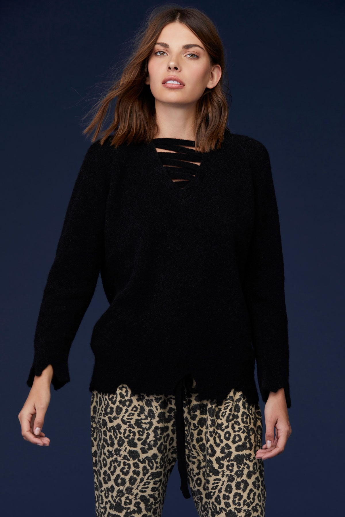 LNA Ziggy Alpaca Cutout Sweater in Black