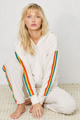 LNA Rasta Stripe Zip Up Hoodie in Jet Stream