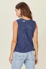 LNA Zoe Tank in Navy Splatter Galaxy