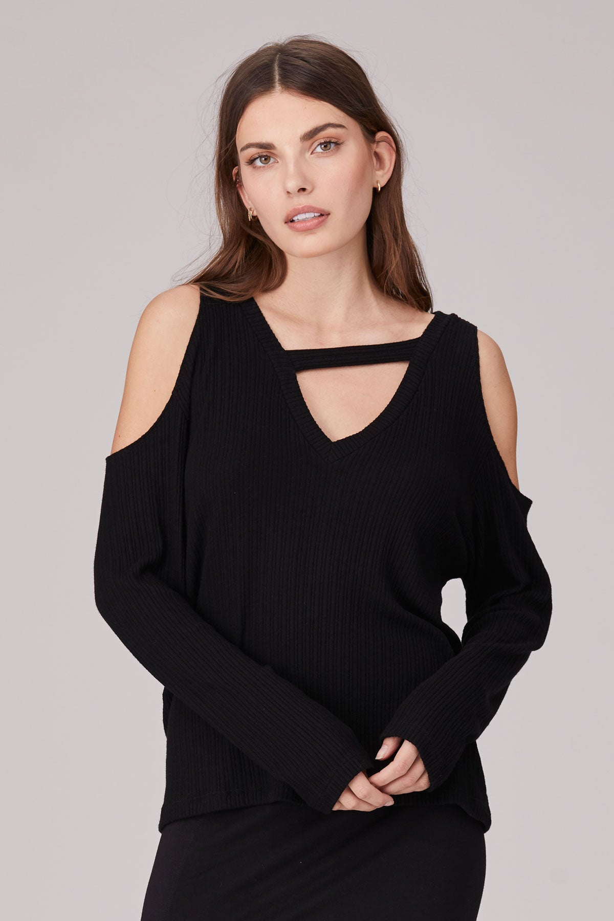 LNA Jeanne Brushed Ribbed Cutout Top