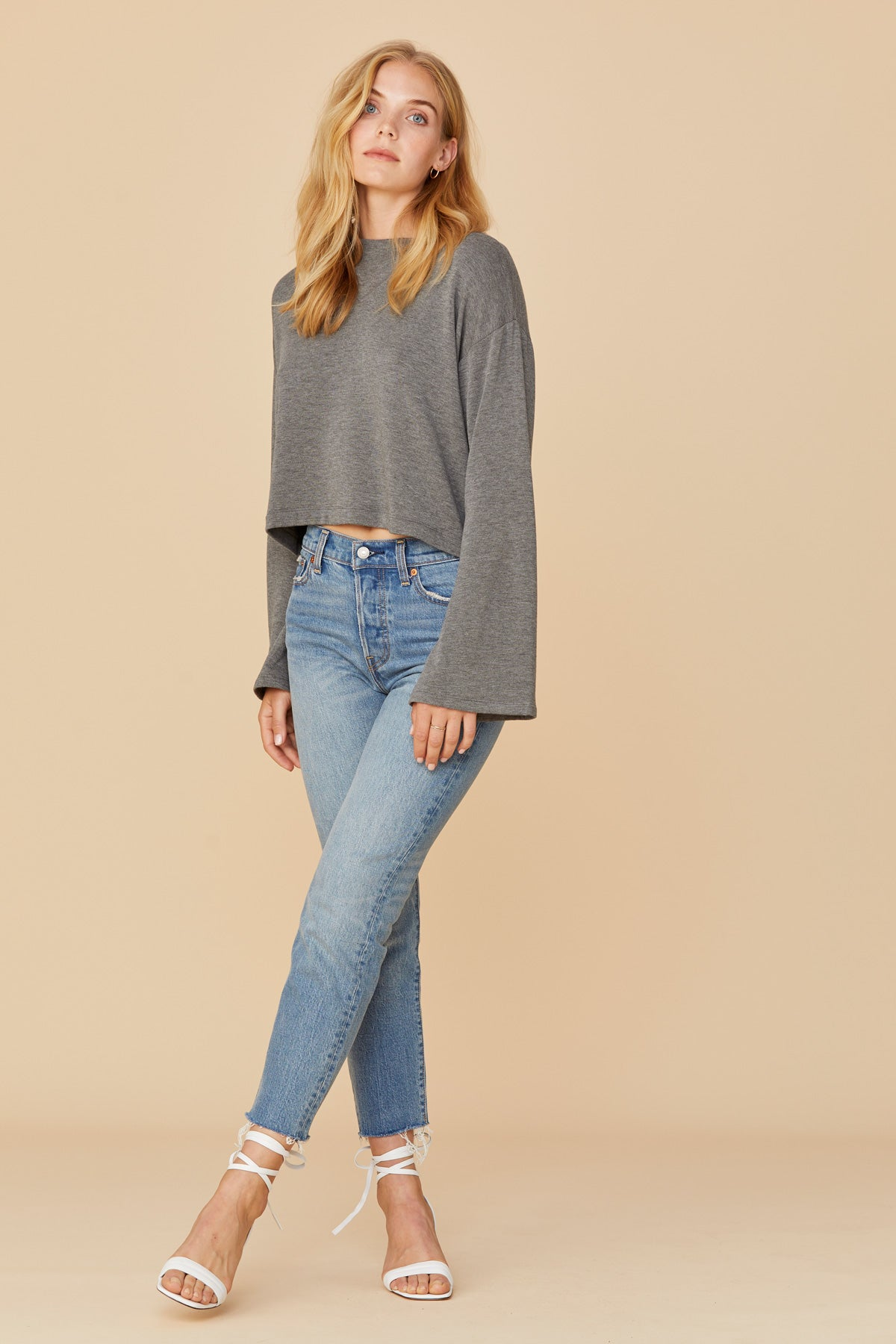 LNA Grey Abby Cropped Sweatshirt