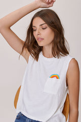 LNA Pocket Full Of Rainbows Tank in Lily White