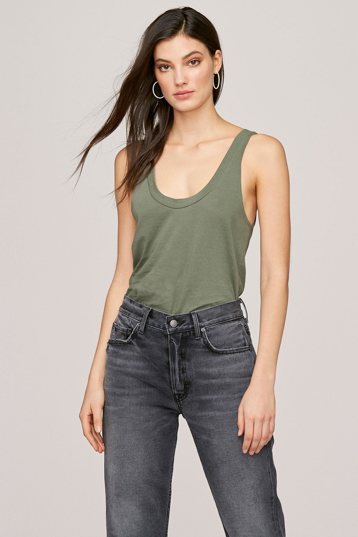 LNA Military Green Tanner Scoop Neck Tank