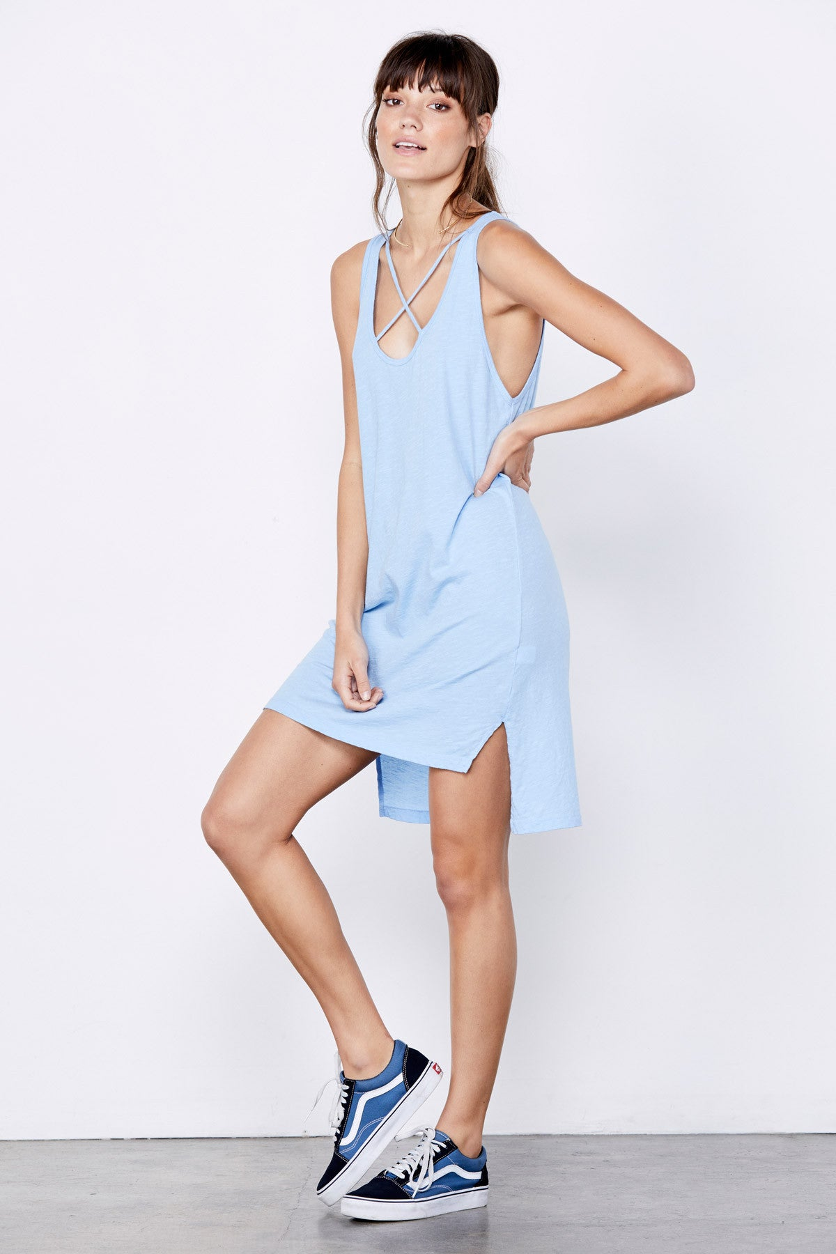 Cross Strap Tank Dress - Vintage Blue