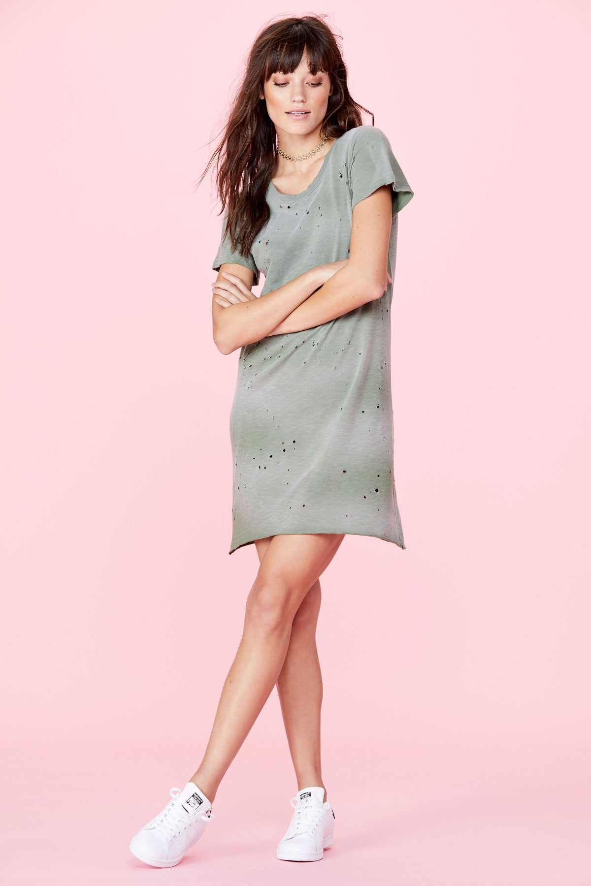 Destroyed Tee Dress - Military Green Potassium