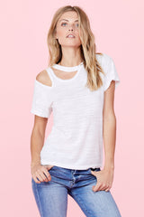 Double Cut Tee - White