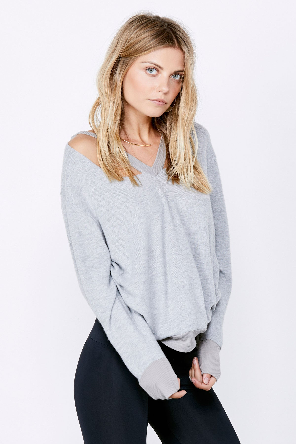 Double Fallon Sweater - Heather Grey
