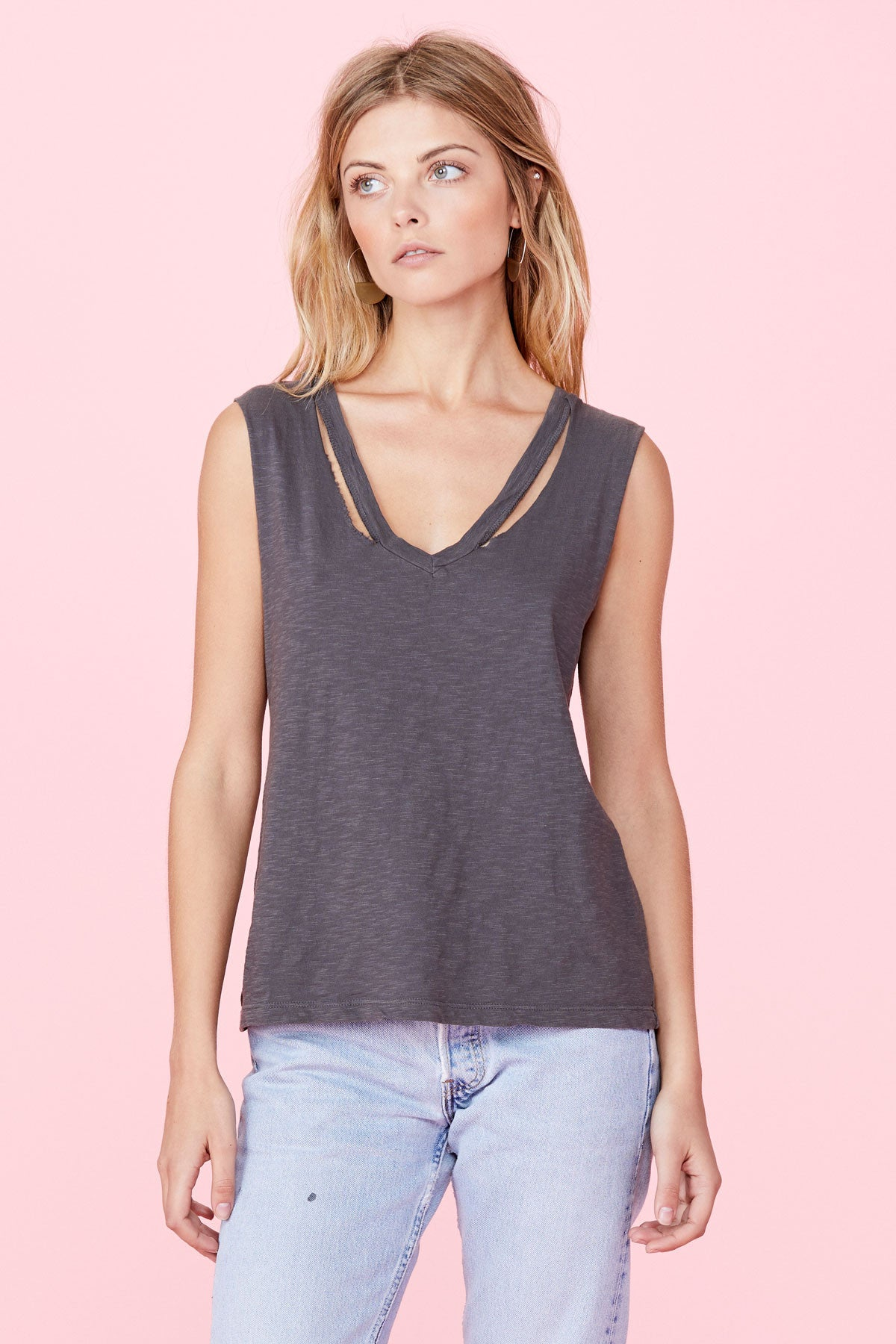 Double Fallon Tank - Faded Charcoal