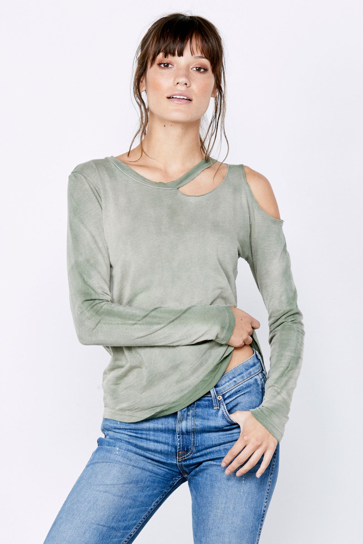 Long Sleeve Slash Tee - Military Green Potassium