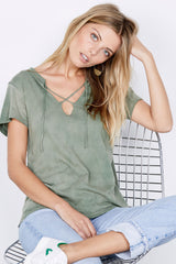 Raw Tie Tee - Military Green Potassium