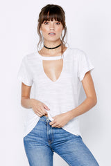 Short Sleeve Cut Out V - White