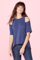 Short Sleeve Slice Top - Sueded Navy