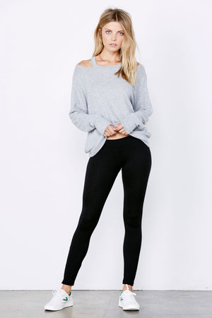Zipper Legging - Flat Black