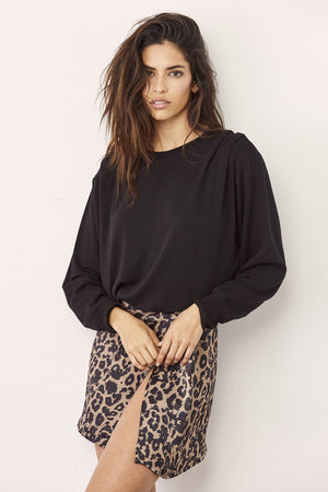 LNA Blondie Gathered Shoulder Sweatshirt in Black