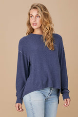 Brushed Chariot Top - Navy Blue
