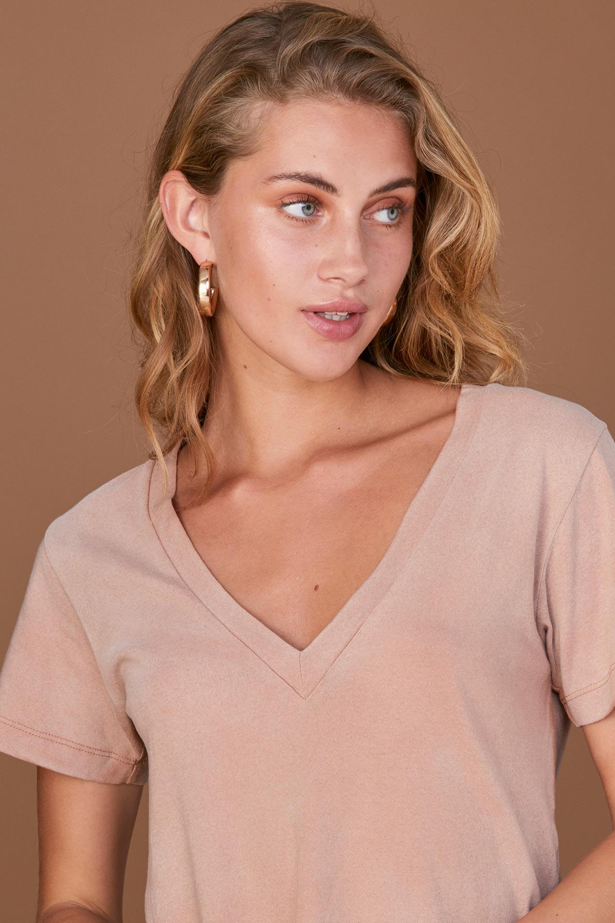 LNA Reese V Neck Tee in Tawny Birch