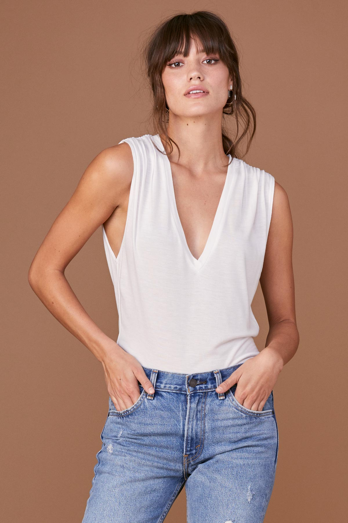 Drapey Modal Lyle Sleeveless - White