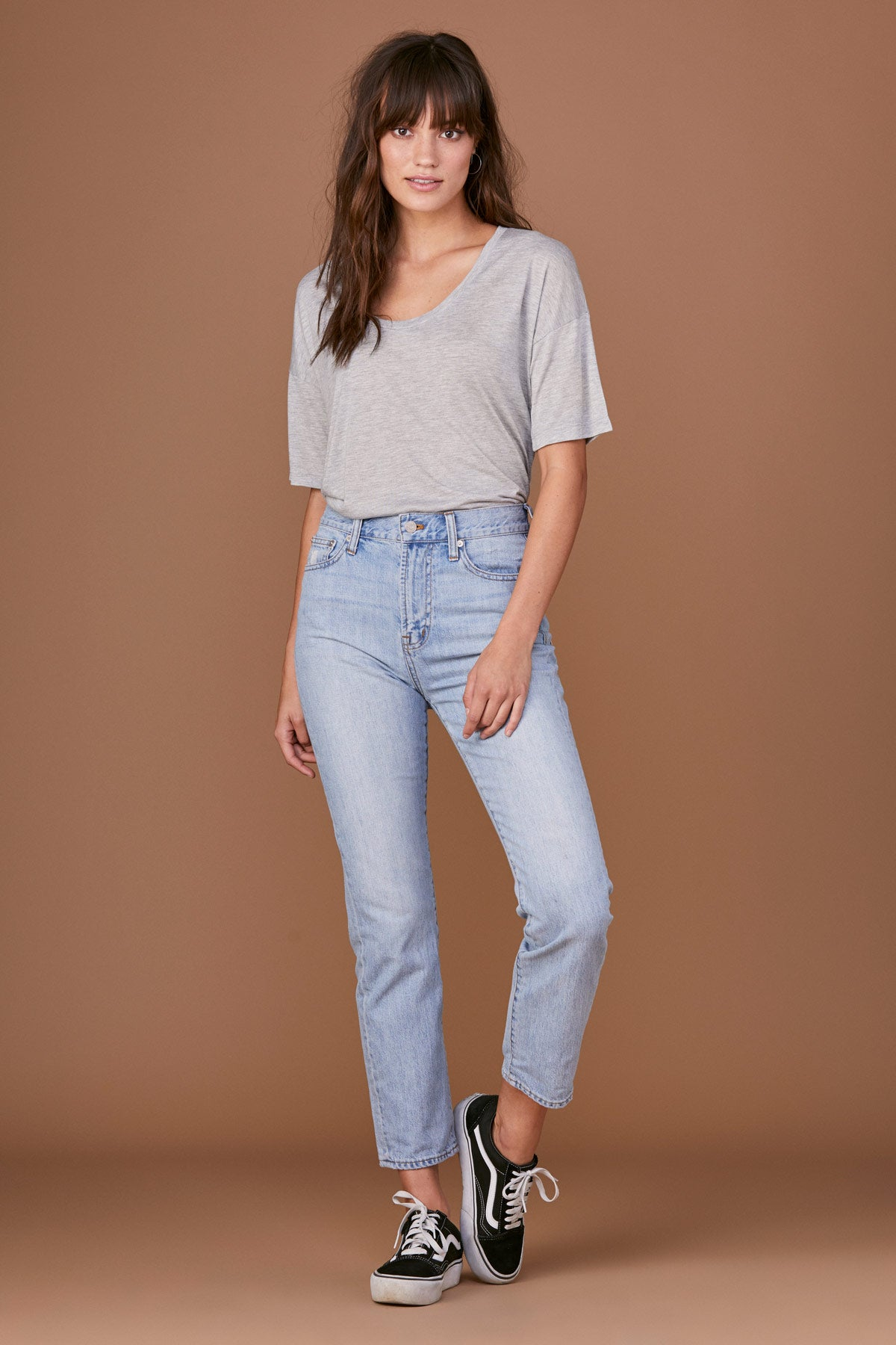 LNA Basic Grey Drapey Logan Tee