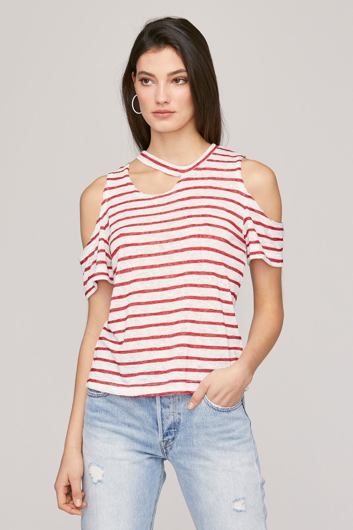 caf83a1704 LNA Clothing – Avalanche Striped Tee - Red & Natural Stripe