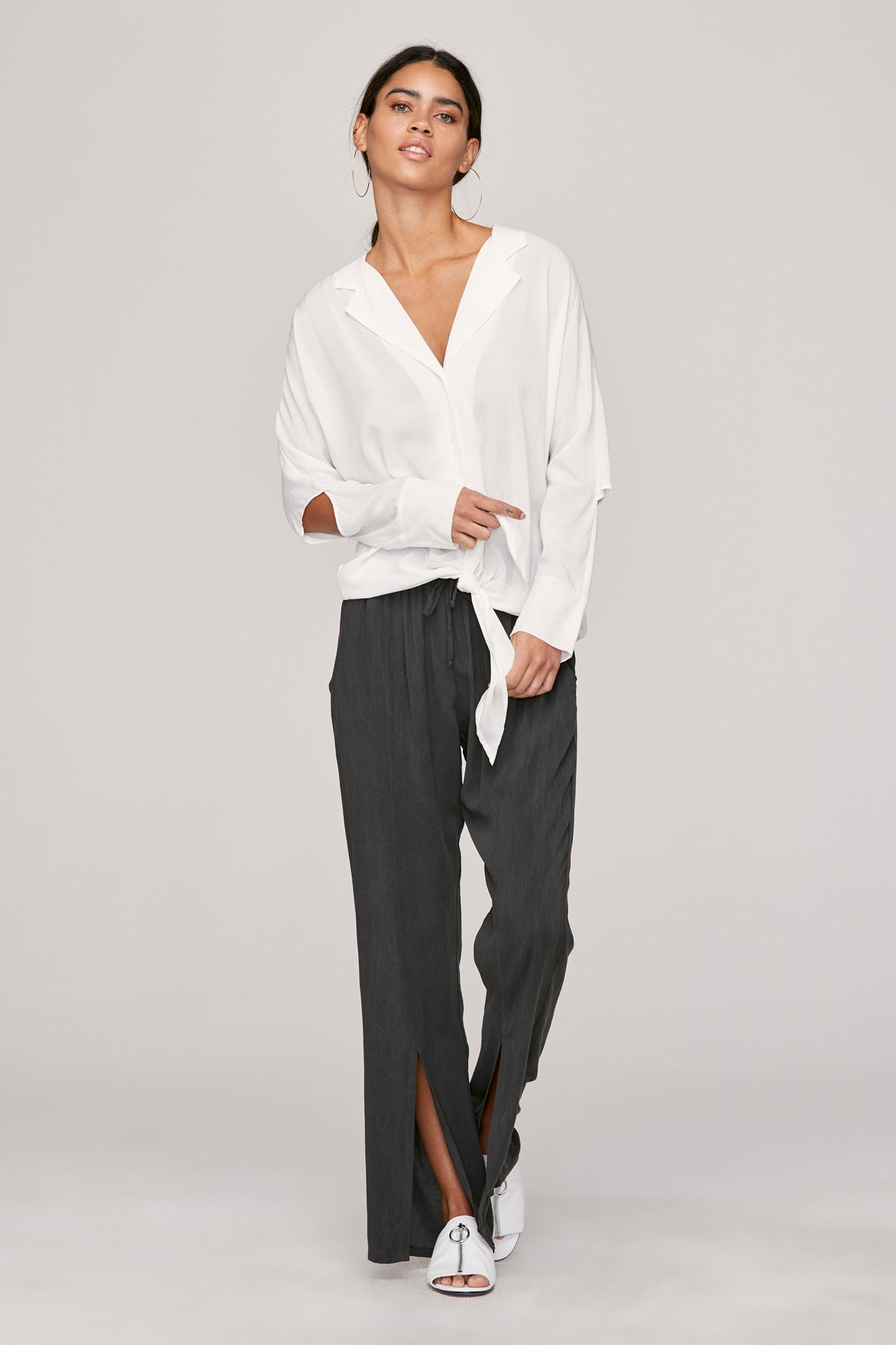 LNA white button down top