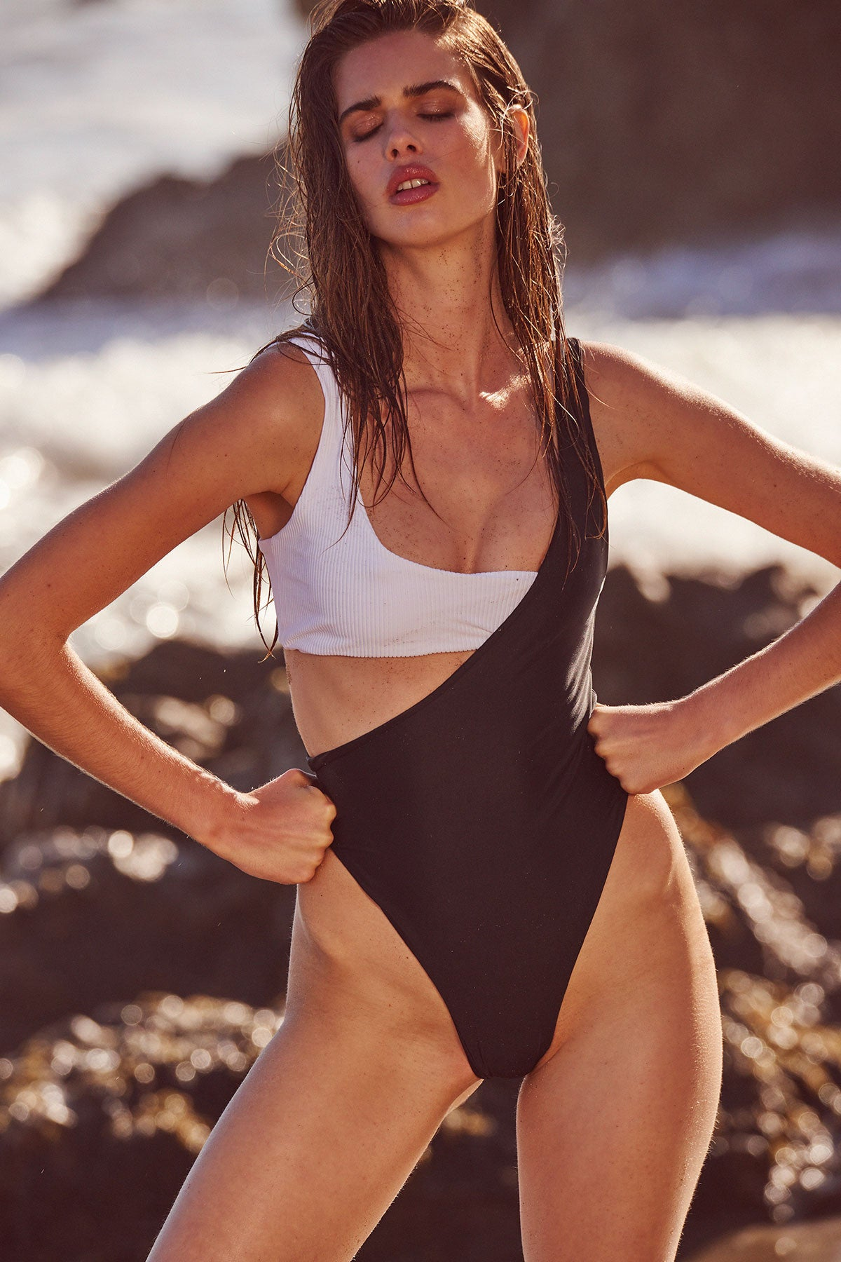 Shore Thing One Piece - Black With White