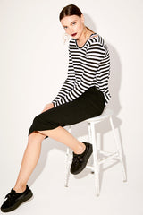 Long Sleeve Bolero Tee - Black & White Stripe