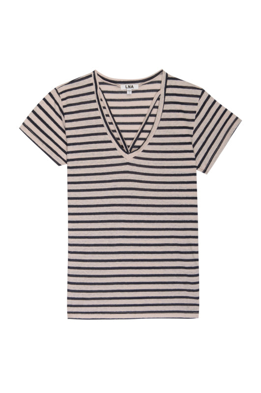 Strappy Detail Knit Top - Khaki and Navy Stripe
