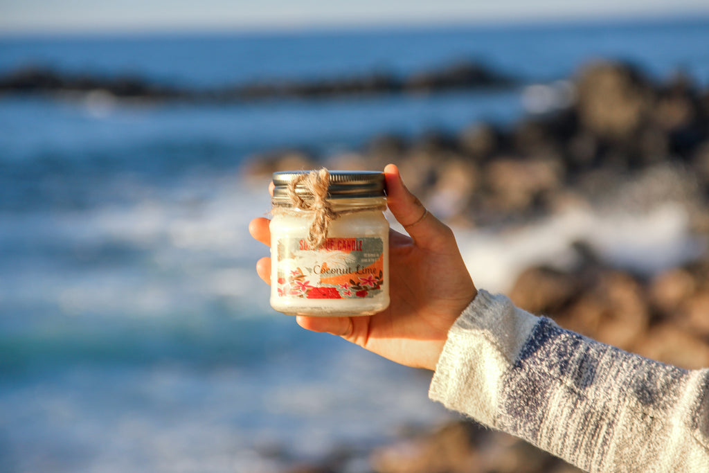 Surfs Up - Coconut Lime Vintage Mason Jar Candle - Red