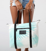 Aloha Collection - Tropical Fan Palm Zipper Tote - Pool