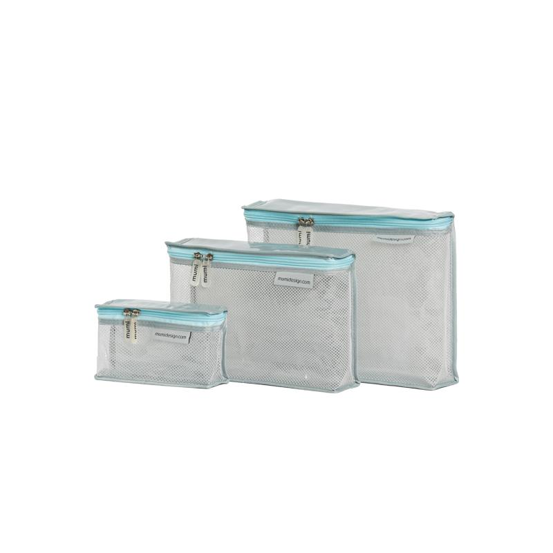 mumi TOILETRY PACKING CUBES blue piccolo toiletry cubes (set of 3)