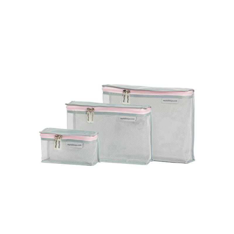mumi TOILETRY PACKING CUBES pink piccolo toiletry cubes (set of 3)