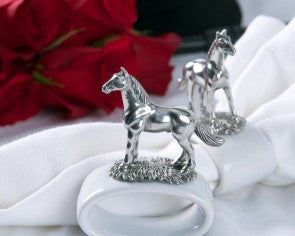 Noble Horse Pewter & Stoneware Napkin Ring