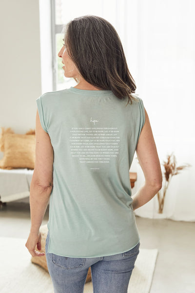 """Hope"" Soft Sage Roll Tee"