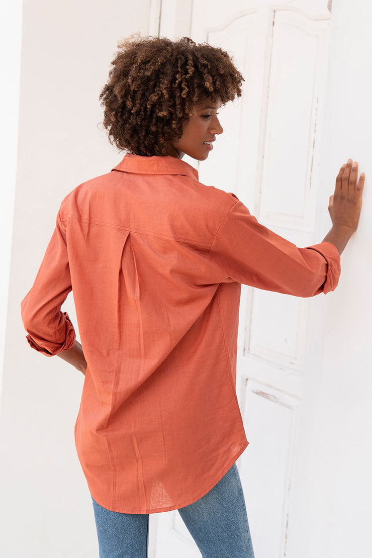 Luxury Linen Cayenne Boyfriend Shirt (Hidden Message!)