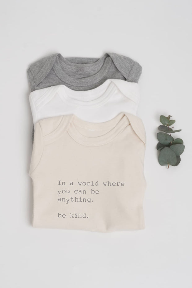"""Be Kind"" Organic Long Sleeve Baby Grow"