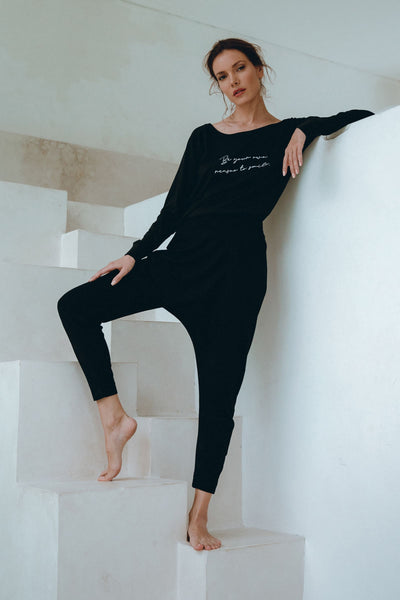 'Relax & Reconnect' Black Pants