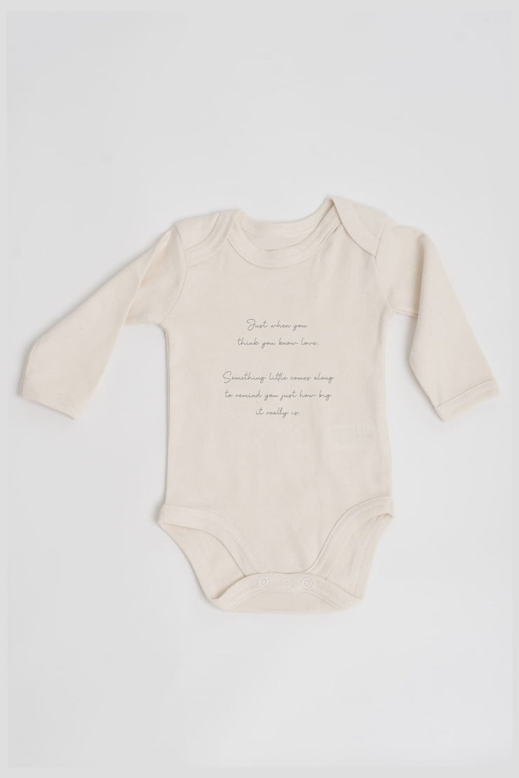 """Love"" Organic Long Sleeve Baby Grow"